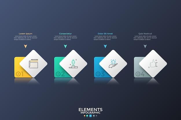 Quatre éléments carrés ou rectangulaires colorés placés en rangée horizontale. disposition de conception infographique. concept de 4 étapes de développement de démarrage ou de plan d'affaires. illustration vectorielle pour la présentation.