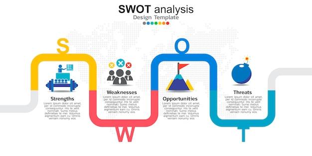 Quatre éléments colorés avec des icônes pour l'analyse swot