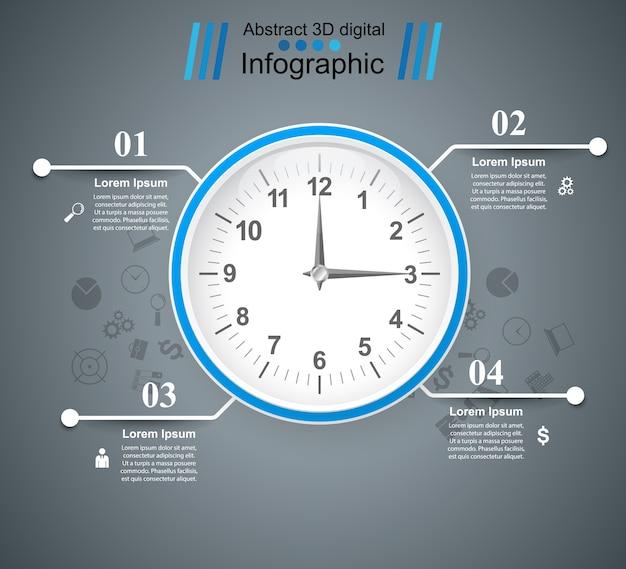 Quatre éléments infographiques d'affaires.