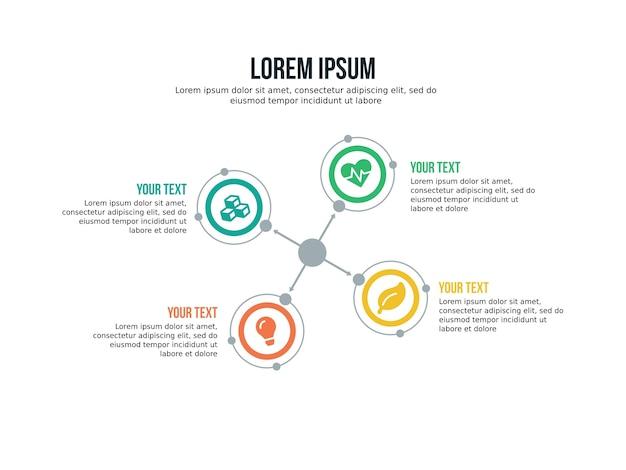 Quatre éléments infographiques et modèle de présentation