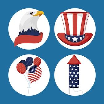 Quatre éléments de jeu d'indépendance des états-unis