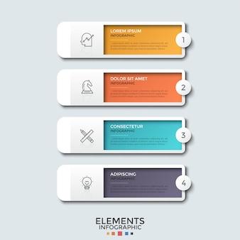 Quatre éléments rectangulaires colorés avec des symboles de ligne mince, des chiffres et des zones de texte à l'intérieur placés les uns au-dessous des autres. concept de liste de fonctionnalités commerciales. modèle de conception infographique.