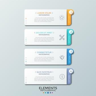 Quatre éléments rectangulaires en papier blanc séparés avec des en-têtes, des pictogrammes en ligne fine et des zones de texte placées les unes au-dessous des autres. modèle de conception infographique. illustration vectorielle pour présentation, site web.