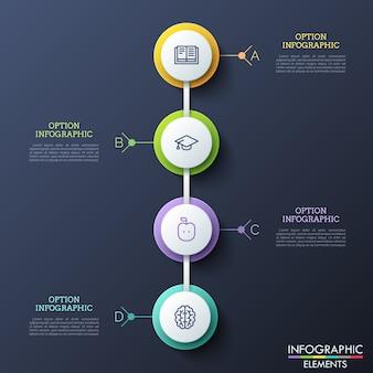 Quatre éléments ronds en papier blanc avec des pictogrammes en traits fins disposés verticalement et connectés. quatre étapes du concept de progrès et de croissance de l'éducation.
