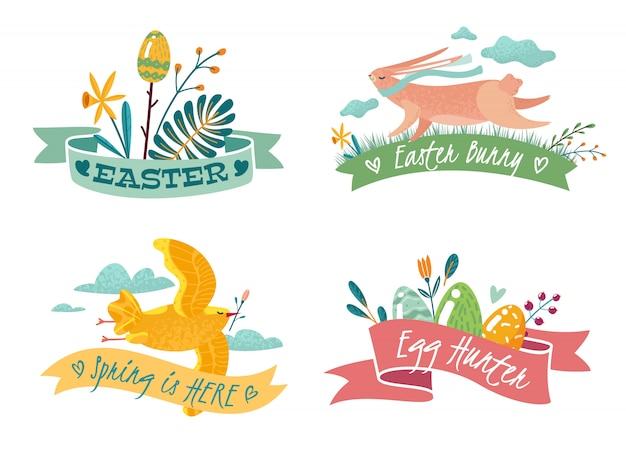 Quatre emblèmes de pâques avec l'image d'un lapin