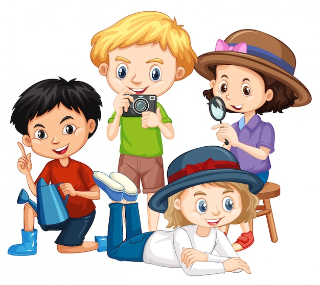 Quatre enfants avec appareil photo et loupe