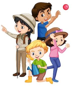 Quatre enfants dans différentes actions