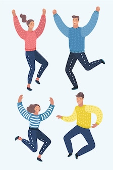 Quatre enfants heureux, garçons et filles, sautant d'excitation, illustrations sur fond blanc. enfants de dessin animé heureux et gais riant et sautant du bonheur