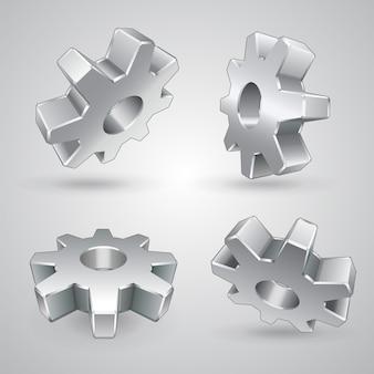 Quatre engrenages métalliques isolés 3d