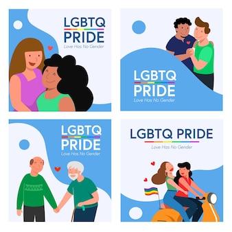Quatre ensembles de couple gay lgbt et de couple de lesbiennes à cheval sur un scooter et plus encore.