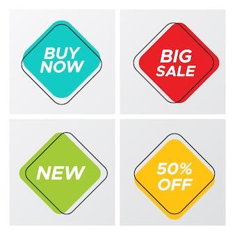 Quatre étiquettes de vente de style rétro carré avec offre de transaction