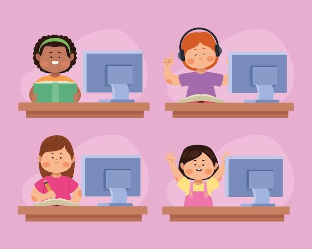 Quatre étudiants en ligne personnages de filles