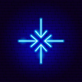 Quatre flèches dans l'enseigne au néon. illustration vectorielle de la promotion de la direction.