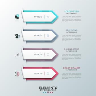 Quatre flèches ou pointeurs blancs en papier placés les uns au-dessous des autres et pointant vers des zones de texte. concept de 4 options d'affaires au choix. disposition de conception infographique créative. illustration vectorielle pour site web.