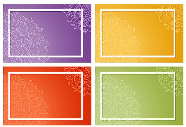 Quatre fond avec dessin de mandala