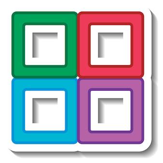 Quatre formes carrées colorées