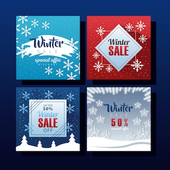 Quatre grandes lettres de vente d'hiver avec conception d'illustration de flocons de neige