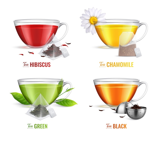 Quatre icône de sac de thé réaliste carré sertie de saveurs de thé à la camomille hibiscus vert et noir vector illustration