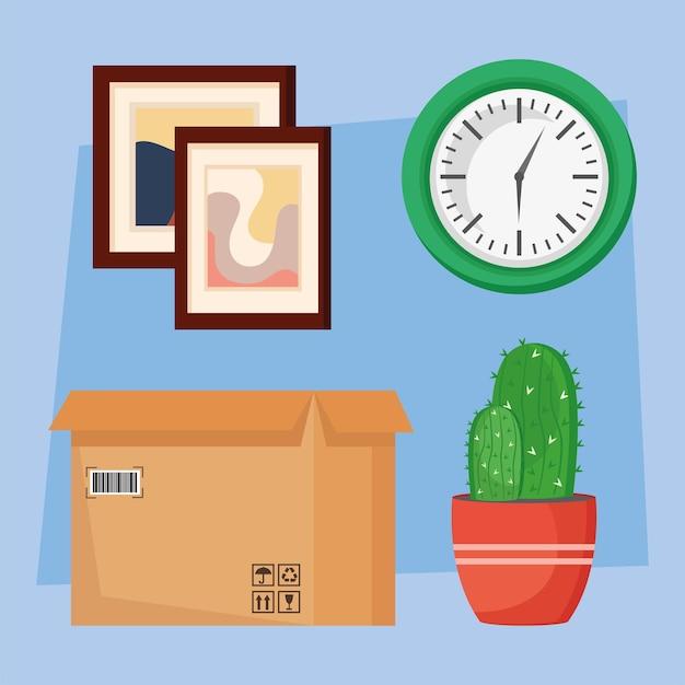Quatre icônes de déménagement