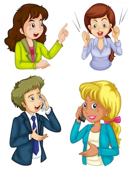 Quatre icônes de l'entreprise communiquant