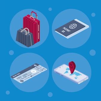 Quatre icônes de passeport de vaccin
