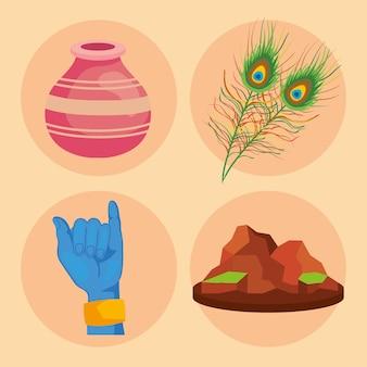 Quatre icônes de puja govardhan