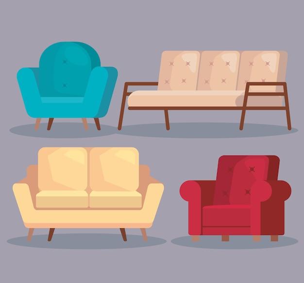 Quatre icônes de salon de canapés