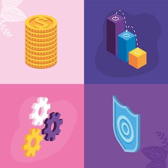 Quatre icônes de solutions de paiement