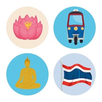 Quatre icônes de la thaïlande