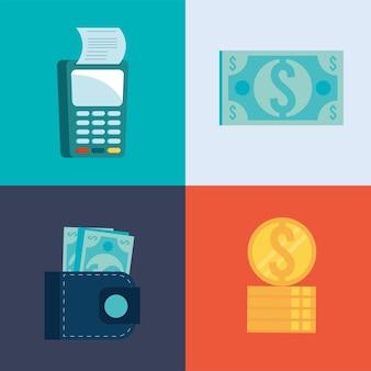 Quatre icônes de transaction mobile