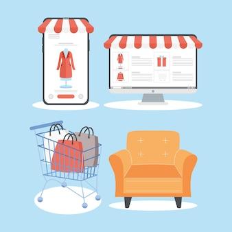 Quatre icônes de vente virtuelle