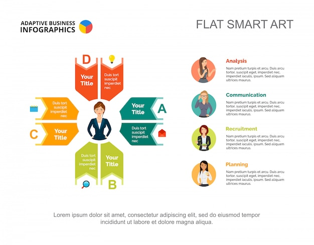 Quatre idées traitent le modèle de diagramme pour la présentation. visualisation des données d'entreprise