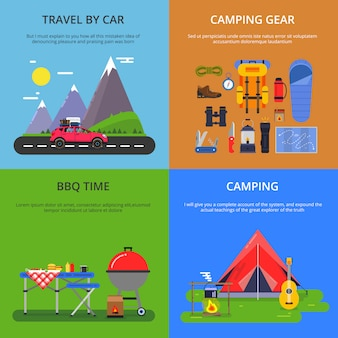 Quatre illustrations vectorielles des activités de plein air.