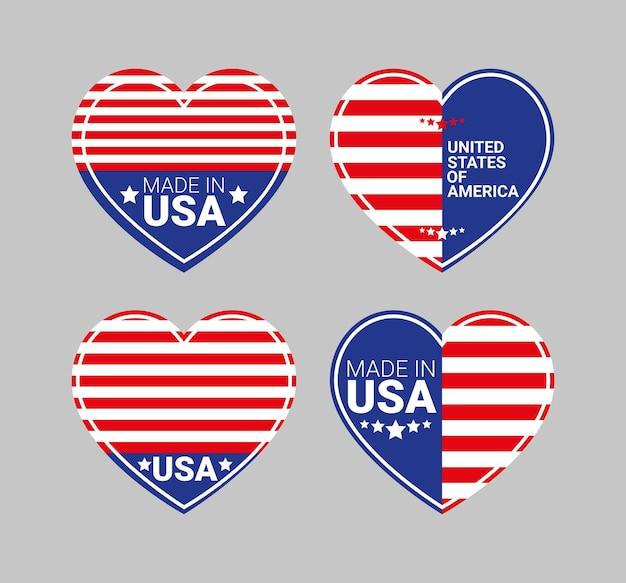 Quatre insignes des états-unis avec des formes de coeur