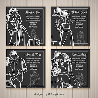 Quatre invitations de mariage de style d'esquisse