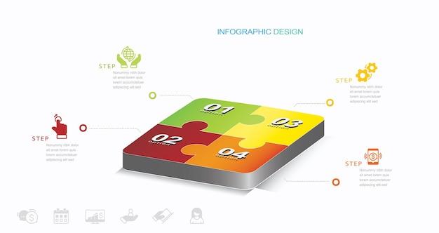 Quatre jigsaw puzzle carré diagramme info graphique stock illustration jigsaw puzzle infographic puzzle