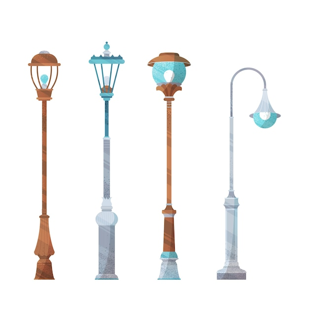 Quatre lampadaires isolés sur fond blanc