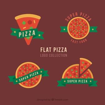 Quatre logo pizza avec des rubans verts