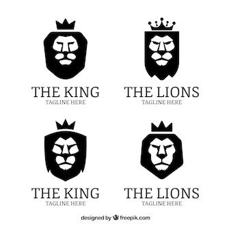 Quatre logos de lion, couleur noire