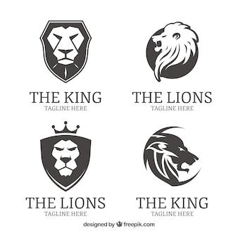 Quatre logos de lion, noir et blanc