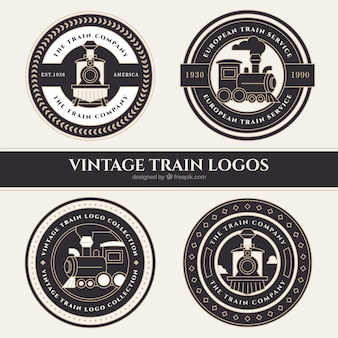 Quatre logos de trains ronds en style vintage