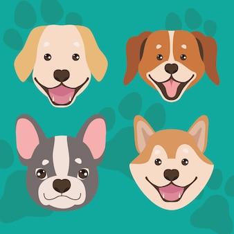 Quatre mascottes de chiens