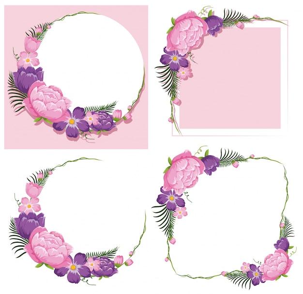 Quatre modèles de cadre avec des fleurs roses et violettes