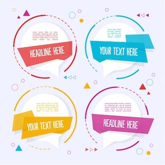 Quatre modèles de texte colorés