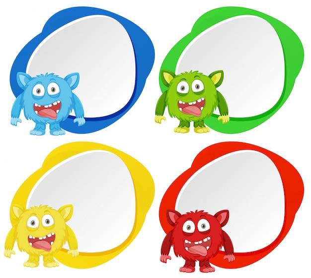 Quatre monstres sur la bannière de couleur
