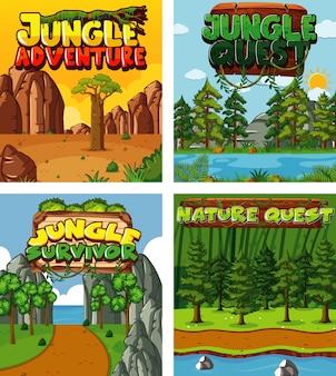 Quatre motifs de fond avec thème nature