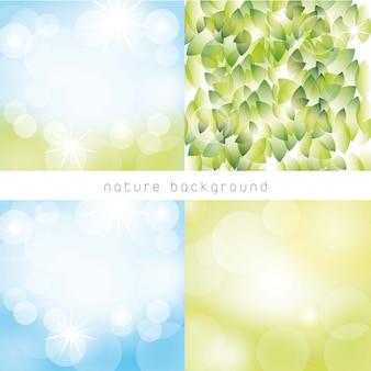 Quatre nature avec feuilles et fond de luminosité. illustration vectorielle