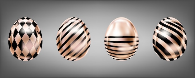 Quatre œufs métalliques en rose
