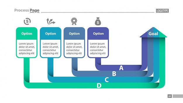 Quatre options diagramme slidetemplate