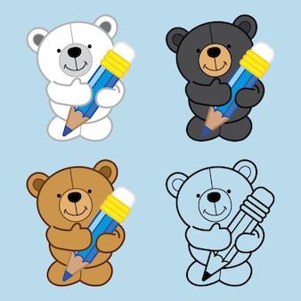 Quatre ours mignon tenir le crayon